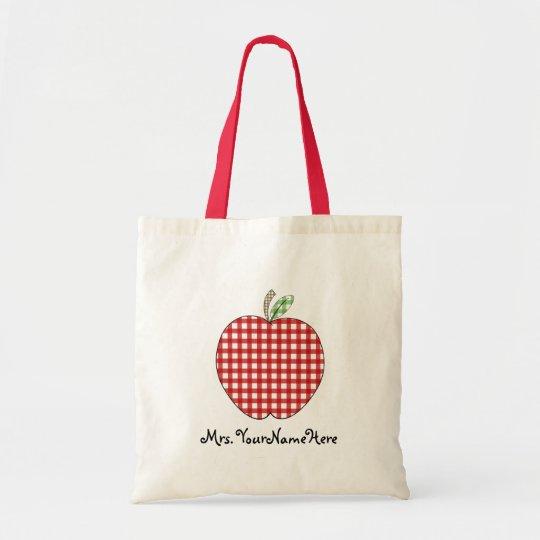 Red Gingham Apple Teacher Tote Bag