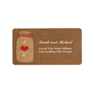 Red Gingham & Burlap Mason Jar Label