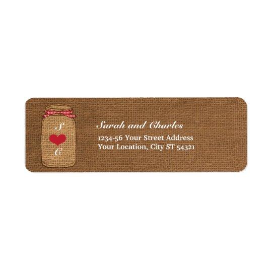 Red Gingham & Burlap Mason Jar Return Address Return Address Label