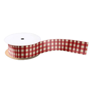 Red Gingham, Checked on Cream Satin Ribbon