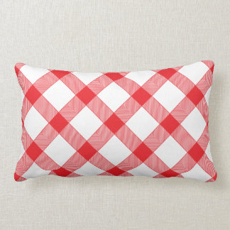 Red Gingham Checker Checked Checkered Pattern Lumbar Pillow
