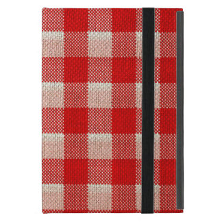 Red Gingham Checkered Pattern Burlap Look iPad Mini Cases