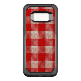 Red Gingham Checkered Pattern Burlap Look OtterBox Commuter Samsung Galaxy S8 Case