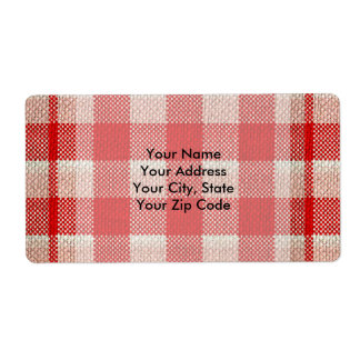 Red Gingham Checkered Pattern Burlap Look Shipping Label