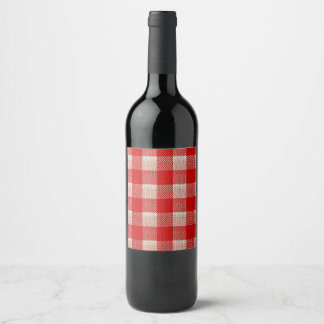 Red Gingham Checkered Pattern Burlap Look Wine Label