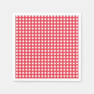 Red Gingham Checkered Rustic Country Picnic Party Paper Napkin