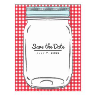 Red Gingham Checkered Rustic Country Save the Date Postcard