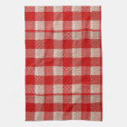 Red Gingham Chequered Pattern Burlap Look Kitchen Towel