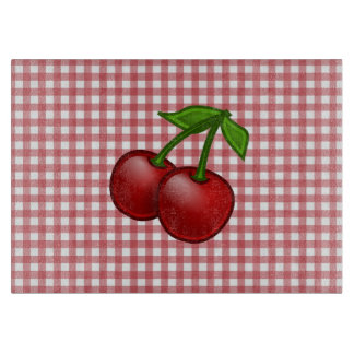 Red Gingham Cherry Cutting Board