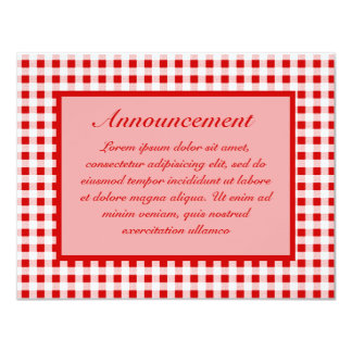 "Red Gingham + Custom Color 4.25"" X 5.5"" Invitation Card"