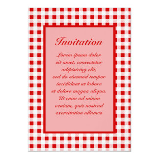 """Red Gingham + Custom Color 5"""" X 7"""" Invitation Card"""