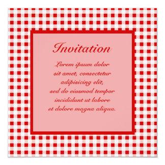 "Red Gingham + Custom Color 5.25"" Square Invitation Card"
