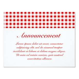 """Red Gingham + Custom Color 4.25"""" X 5.5"""" Invitation Card"""