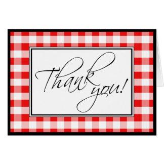 Red Gingham Custom Thank You Card