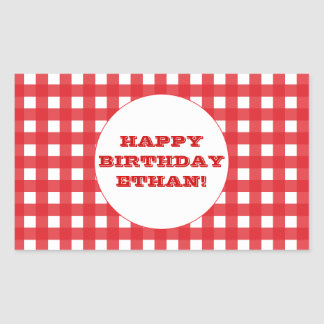Red Gingham Customizable Party Sticker