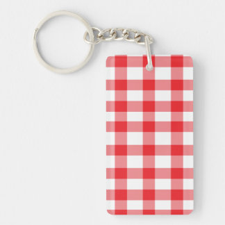Red Gingham Double-Sided Rectangular Acrylic Keychain