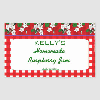 Red gingham floral raspbery jam jelly label