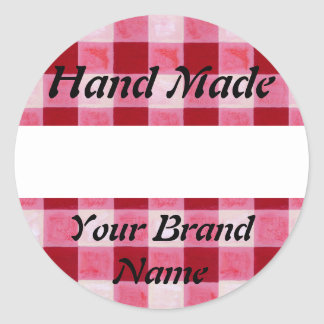 Red Gingham Hand Made Label Round Sticker
