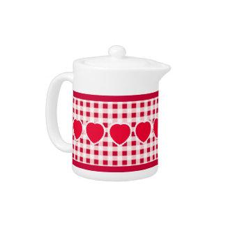 Red Gingham Heart Teapot