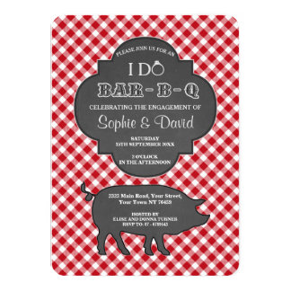 Red Gingham I DO BARBEQUE Engagement Chalk Invite