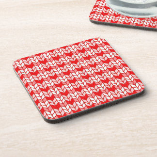 Red Gingham Knit Hard Plastic Coasters, Cork Back Coasters