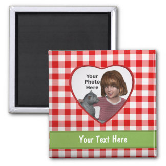 Red Gingham Look Heart Frame: Add a Photo and Text Magnet