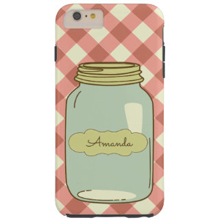 Red Gingham Mason Jar Personalized Phone Case