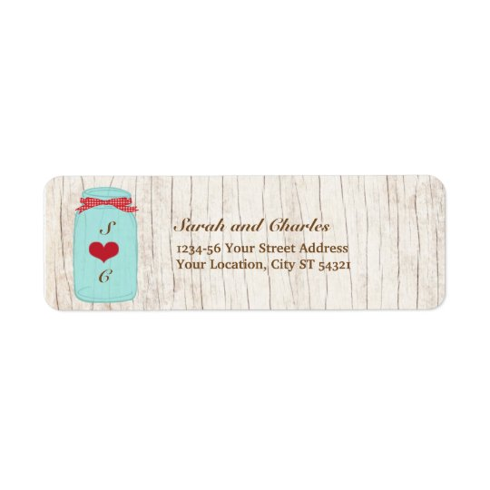 Red Gingham & Mint Mason Jar Return Address Return Address Label