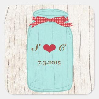 Red Gingham & Mint Mason Jar Wedding Square Sticker