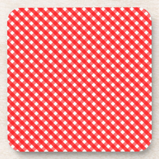 Red Gingham Pattern Coaster