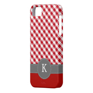 Red Gingham Pattern Custom Monogram Case For The iPhone 5
