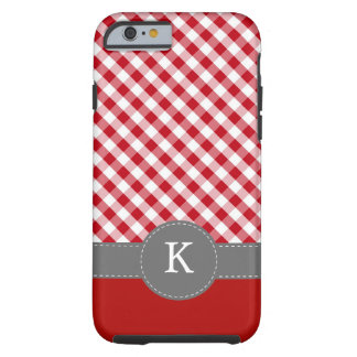 Red Gingham Pattern Monogram Tough iPhone 6 Case