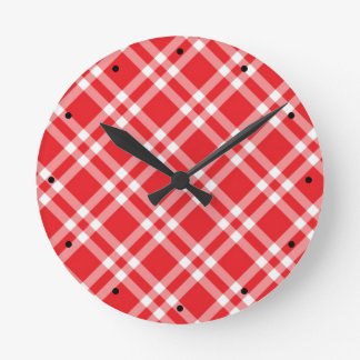 Red Gingham Pattern Round Clock
