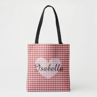 Red Gingham  Personalized Name Tote Bag