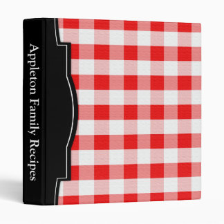 Red Gingham personalized Recipe Binder