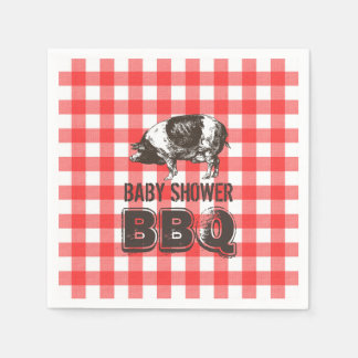 Red Gingham Pig Roast Baby Shower BBQ Paper Napkin
