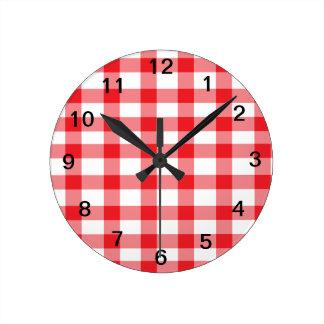 Red Gingham Round Clock