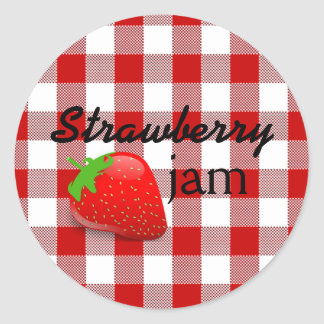 Red Gingham-Strawberry Jam Round Sticker