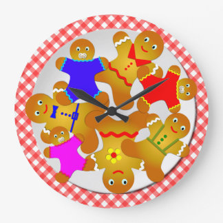 Red Gingham Tablecloth Plate of Gingerbread Men Large Clock