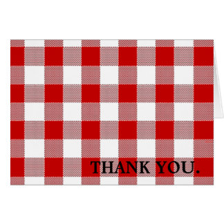 Red Gingham Thank You Card