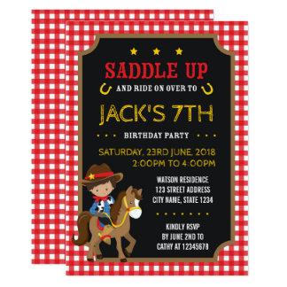 Red Gingham Wild West Tan Cowboy Birthday Card