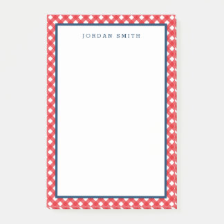 Red Gingham with Blue Border Post-it Notes