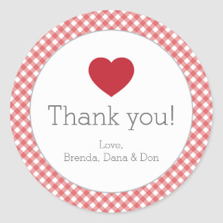 Red Gingham with Heart Sticker