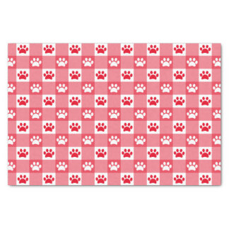 Red Gingham with Paws Tissue Paper