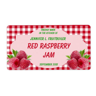 Red Gingham with Raspberries Jam or Food Shipping Label