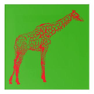 Red Giraffe Stencil Acrylic Print