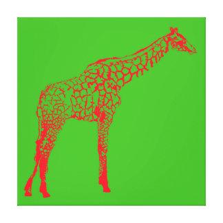 Red Giraffe Stencil Canvas Print
