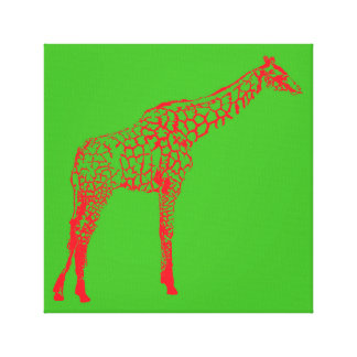 Red Giraffe Stencil Canvas Print