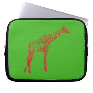 Red Giraffe Stencil Laptop Sleeve