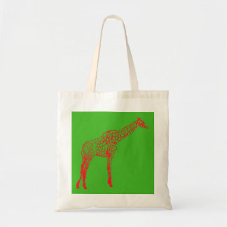 Red Giraffe Stencil Tote Bag